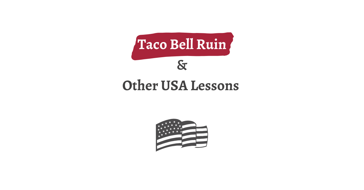 USA Lessons graphic with US flag