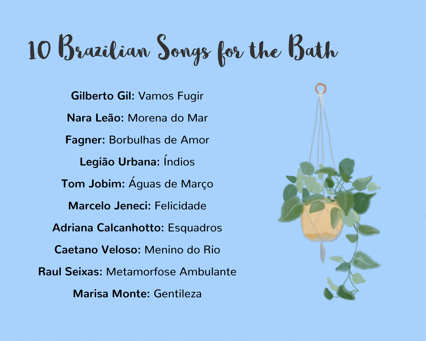 Brazilian songs for the bath with handrawn watercolour plant