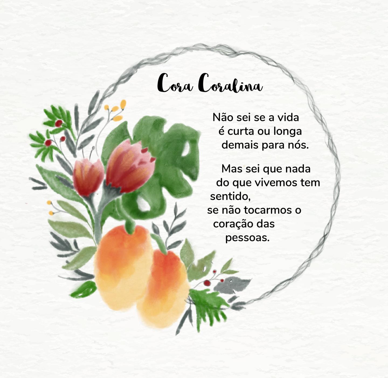 Cora coralina poema Português watercolor half wreath design