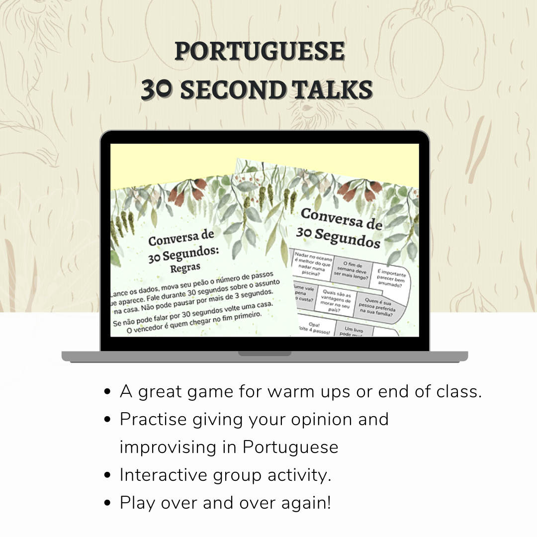 Portuguese 30 Second Talks game mockup