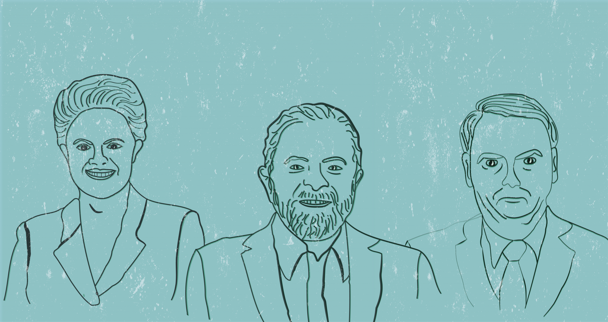 Lula, Dilma and Bolsonaro Brazilian politics line drawing