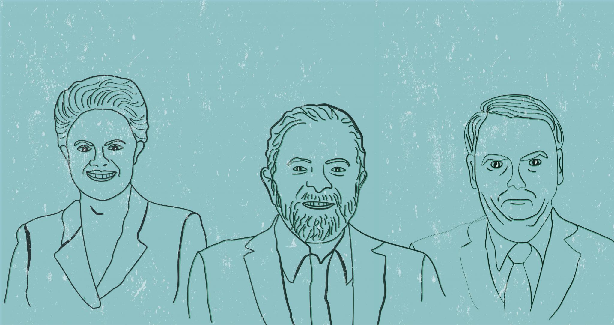 Lula, Dilma and Bolsonaro Brazilian politics line drawing